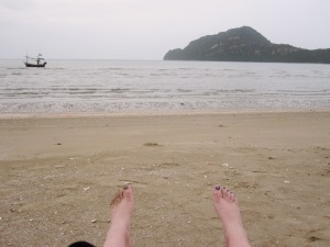 My feet at Dolphin Bay! Bring on the relaxation...