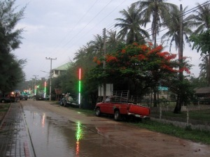 the road outside the guesthouse