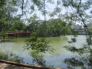 Hoan Kiem Lake, and the red bridge