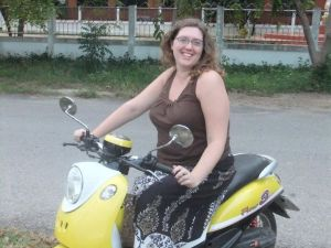 Posing on my moped