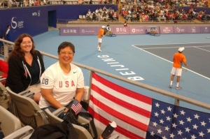 Our great seats, with the Bryan brothers warming up in the background