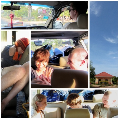 Travelling from Phnom Penh to Siem Reap in a van.