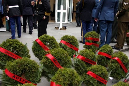Wreaths at the ANZAC Day dawn service in 2011, at the NZ embassy.
