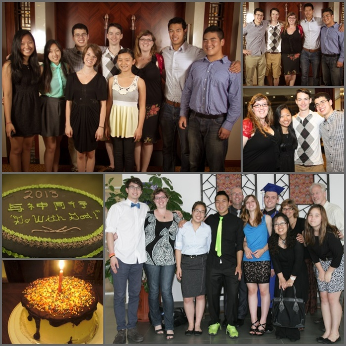 Top: Baccalaureate service in Beijing; bottom: cakes and graduation in Tianjin.