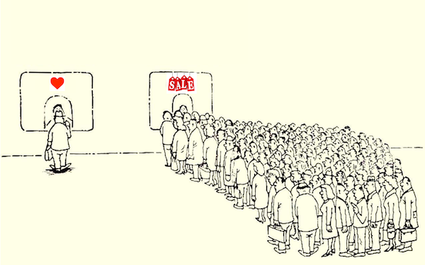 The author of the blog I found this cartoon on wishes people would pay more attention to love than shopping on Singles' Day...