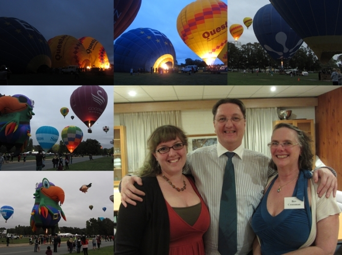 Balloons on the lawn outside Old Parliament House; with my parents after the club dinner.