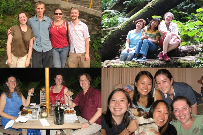 Visits and visitors. Top right is me with my roommates from the previous year in Xishuangbanna.