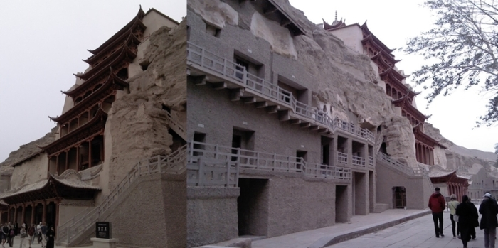The cliff face at Mogao Caves.