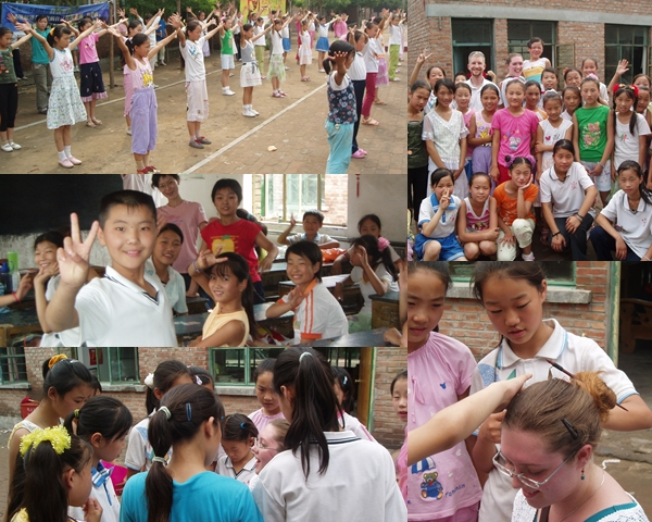 Visiting a migrant school summer camp (and having my hair done by a group of excited girls!) in 2006.