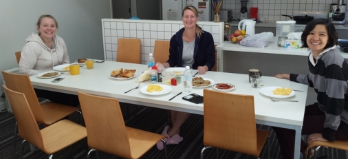 Making a big weekend brunch with housemates - another fun thing!