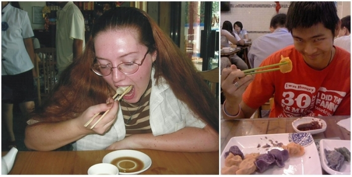 Eating pork-and-cabbage dumplings at the BLCU restaurant in August 2004; eating at Baoyuan in August 2014.