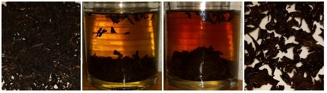 Red Tea from Yunnan province - dry leaves, steeped 10 minutes, steeped 20 minutes, and the leaves after steeping.