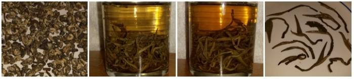 Good quality rolled Jasmine tea - dry leaves, steeped 10 minutes, steeped 20 mintues, and the leaves after steeping.