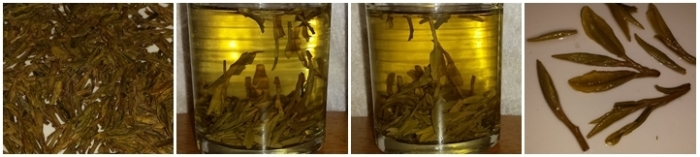 Xihu Longjing tea from Hangzhou - dry leaves, steeped 10 minutes, steeped 20 mintues, and the leaves after steeping.
