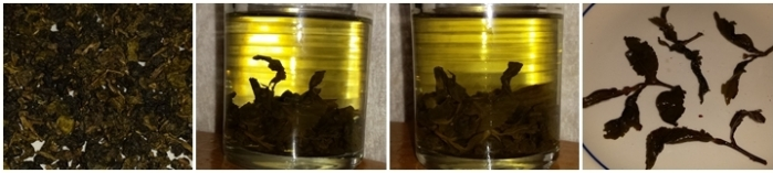 Osmanthus Oolong tea - dry leaves, steeped 10 minutes, steeped 20 mintues, and the leaves after steeping.