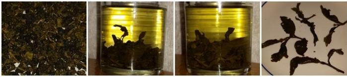 Osmanthus Oolong tea - dry leaves, steeped 10 minutes, steeped 20 mintues, and the leaves after steeping.
