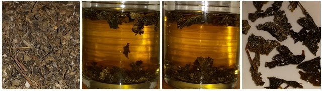 Snow Tea from Dali, Yunnan province - dry leaves, steeped 10 minutes, steeped 20 minutes, and the leaves after steeping.