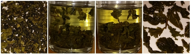 Tie Guan Yin tea I brought to the tasting - dry leaves, steeped 10 minutes, steeped 20 minutes, and the leaves after steeping.