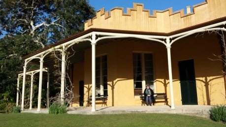 Me sitting on the verandah outside the parlour of Vaucluse House