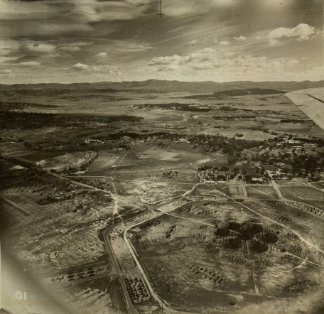 Aerial photo of construction of Canberra, circa 1940s.