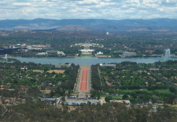 View from Mount Ainslie lookout - shows both Parliament Houses, High Court, National Gallery, National Library, War Memorial, ANZAC Parade, Cariilion, Captain Cook Jet, and Mount Taylor in the background (with the Brindabellas in the distance).