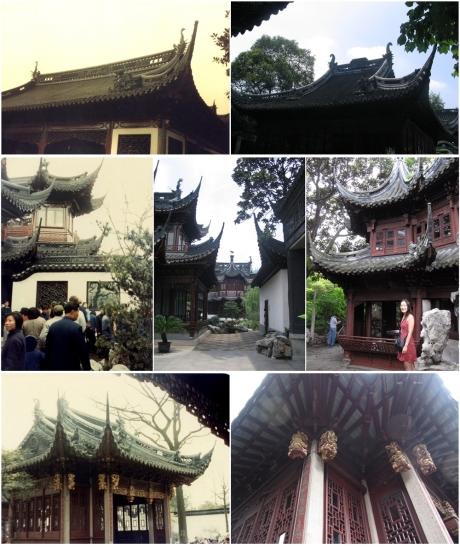 Beautiful pavilions in Yu Gardens. Top row: 1983, 2004; Centre row: 1983, 2004, 2012; Bottom row: 1983, 2012.