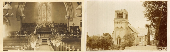 Photos of the interior and exterior of St Johns, taken circa 1910