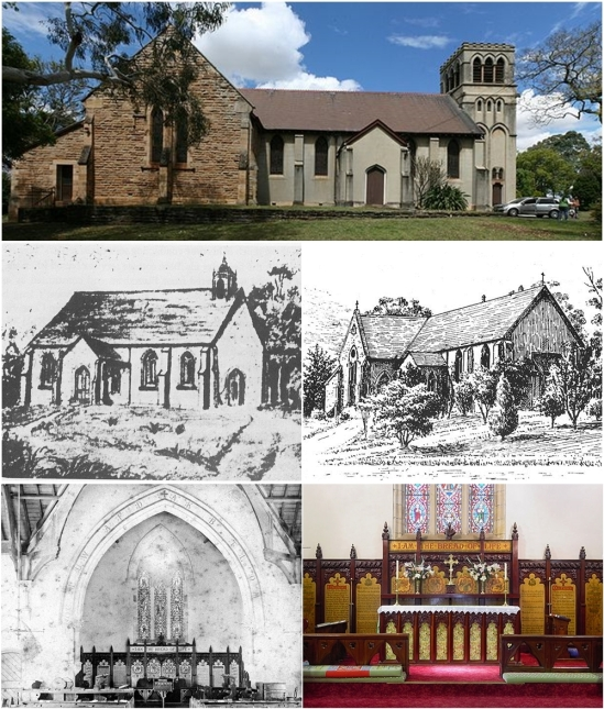 Now and then. Illustrations from circa 1850s and 1880s; interior photos from 1883 and 2006 - showing the wood carving.