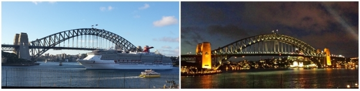 Day-night photos of the Sydney Harbour Bridge I took in February