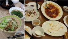 "I get so excited by ""real"" Chinese food that I don't think to take a photo until the food is gone! So you'll just have to trust me that those cleaned up dishes once held 椒盐豆腐 and 干扁豆角 and 松鼠鱼 and 豆苗 and more..."