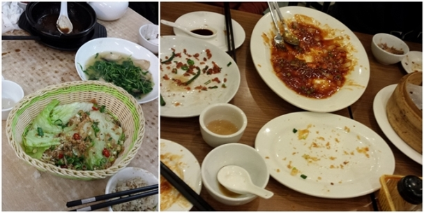"I get so excited by ""real"" Chinese food that I don't think to take a photo until the food is gone! So you'll just have to trust me that those cleaned up dishes once held 椒盐豆腐 and 干扁豆角 and 松鼠鱼 and 豆苗 and 上海小笼包 and more..."