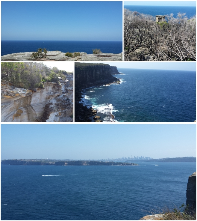 Views from North Head - north up the coast, into the Tasman Sea, and across South Head and Sydney Harbour toward the city centre.