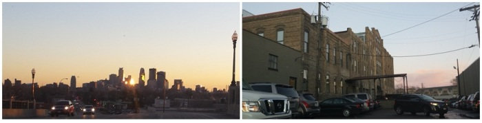 Minneapolis skyline at sunset, and the building a friend works in.