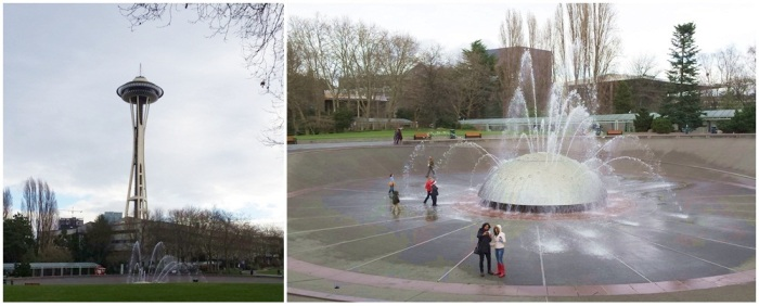 Space Needle and fountain at the Seattle Center.