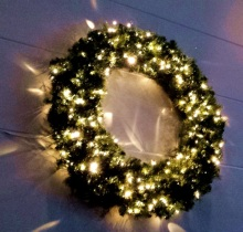 A lit up wreath at my friends' church.