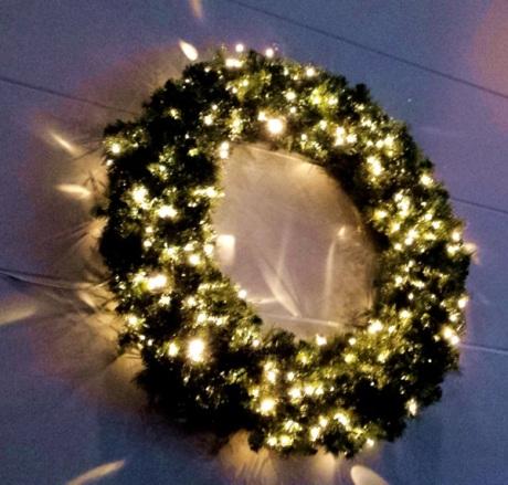 A lit up wreath at my friends' church.